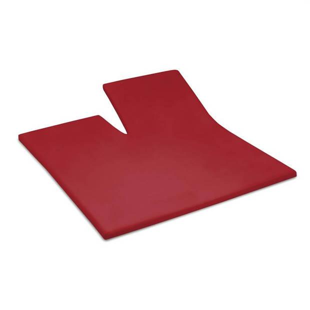 Cinderella jersey split-topper hoeslaken - 100% gebreide jersey katoen - Lits-jumeaux (180x200/210 cm) - Red