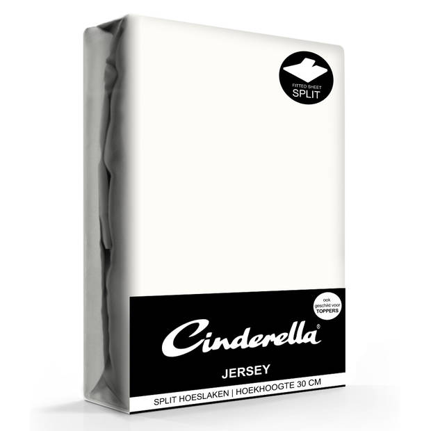Cinderella jersey splithoeslaken ivory-160x200/210cm
