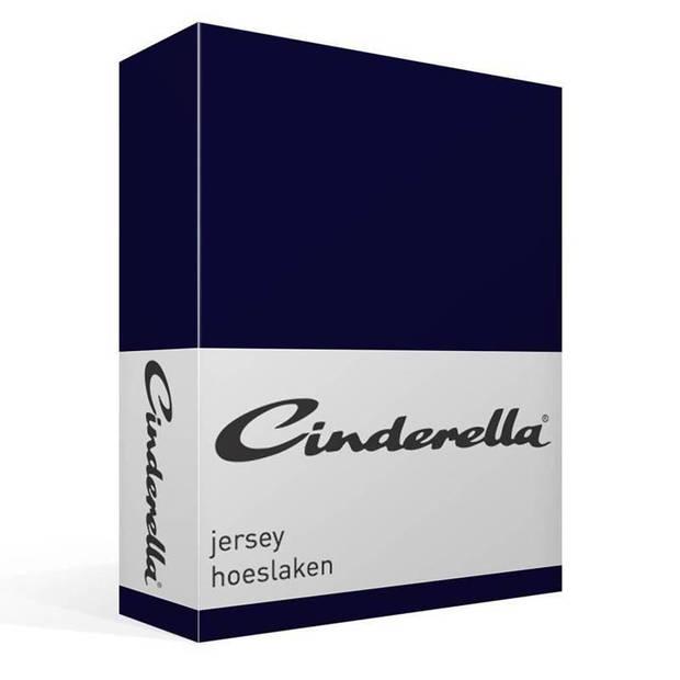 Cinderella jersey hoeslaken - 100% gebreide jersey katoen - Lits-jumeaux (200x210/220 cm) - Dark Blue