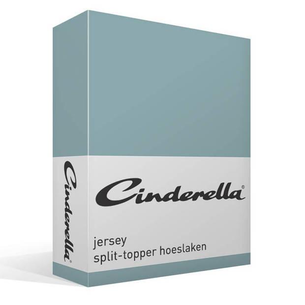 Cinderella jersey split-topper hoeslaken - 100% gebreide jersey katoen - Lits-jumeaux (160x200/210 cm) - Mineral