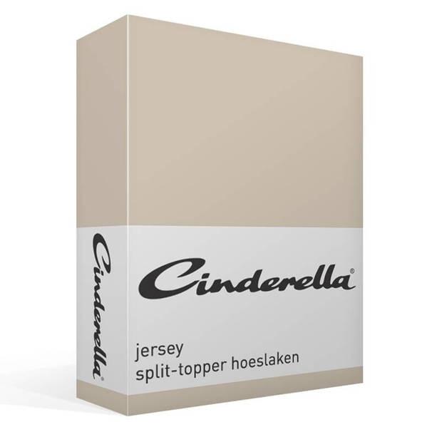 Cinderella jersey split-topper hoeslaken - 100% gebreide jersey katoen - Lits-jumeaux (160x200/210 cm) - Silver sand