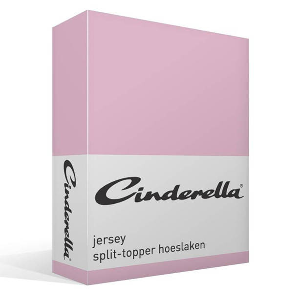 Cinderella jersey split-topper hoeslaken - 100% gebreide jersey katoen - Lits-jumeaux (160x200/210 cm) - Candy