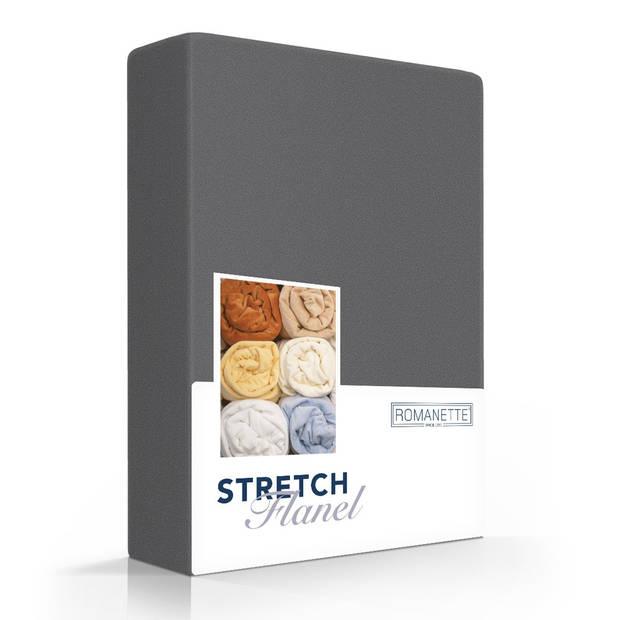 Flanellen Stretch Hoeslaken Grijs-160/180 x 200/210/220 cm