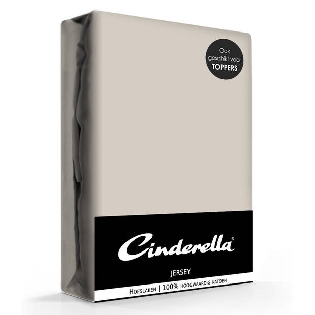 Cinderella jersey hoeslaken taupe-160 x 200 cm