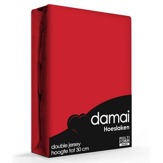 Damai Multiform Double Jersey Hoeslaken Rood-80/90 x 210/220 cm