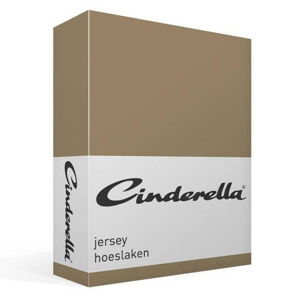 Cinderella jersey hoeslaken - 100% gebreide jersey katoen - 2-persoons (140x210/220 cm) - Taupe
