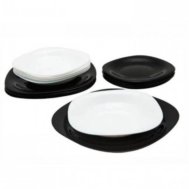 Luminarc Carine Serviesset - wit - zwart - 18-delig - 6 persoons