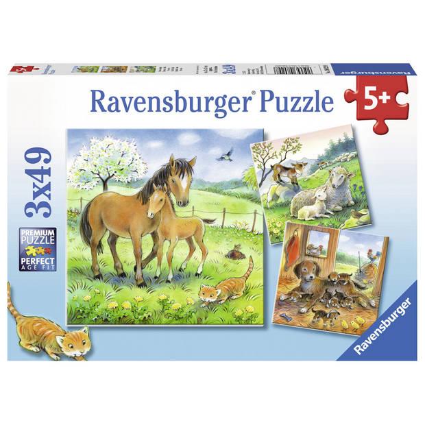 Ravensburger puzzel knuffeltijd - 3 x 49 stukjes