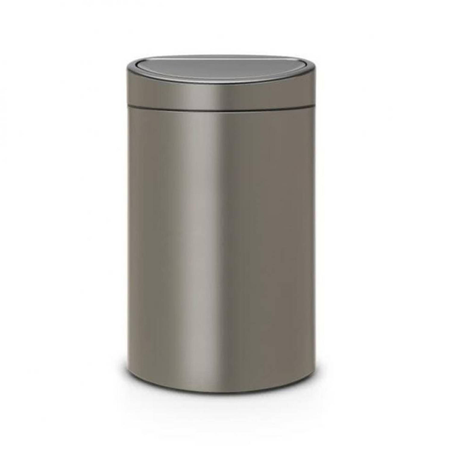 brabantia touch bin recycle prullenbak 10 23 l platinum blokker. Black Bedroom Furniture Sets. Home Design Ideas