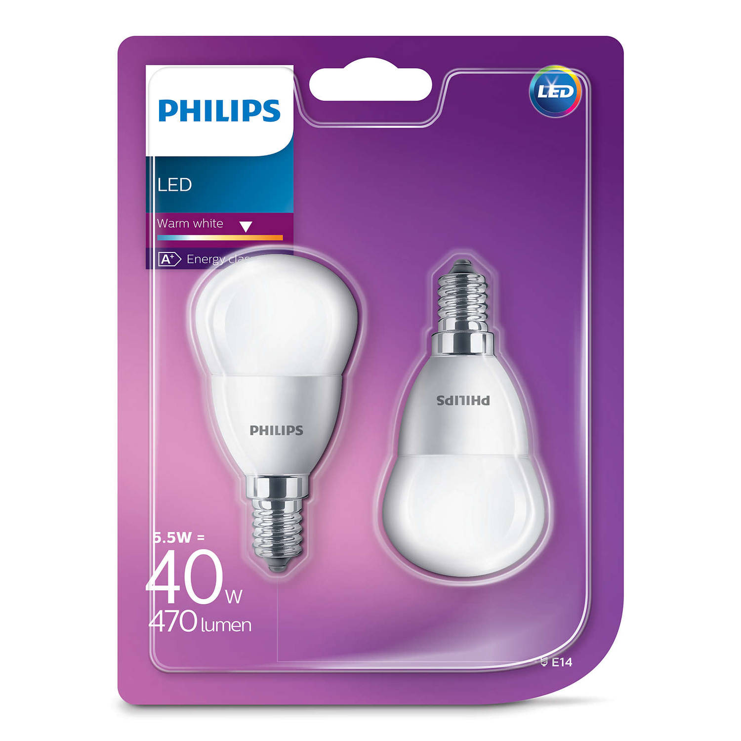 Philips led kogellamp e14 5.5w 2700k extra warm wit (blister 2 stuks)
