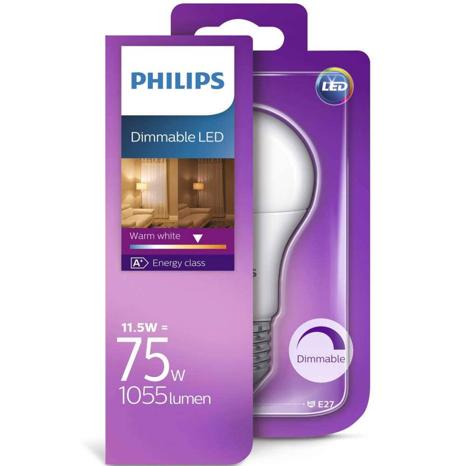 Philips led a67 16w/100w e27 2700k 1521lm warmglow dimbaar