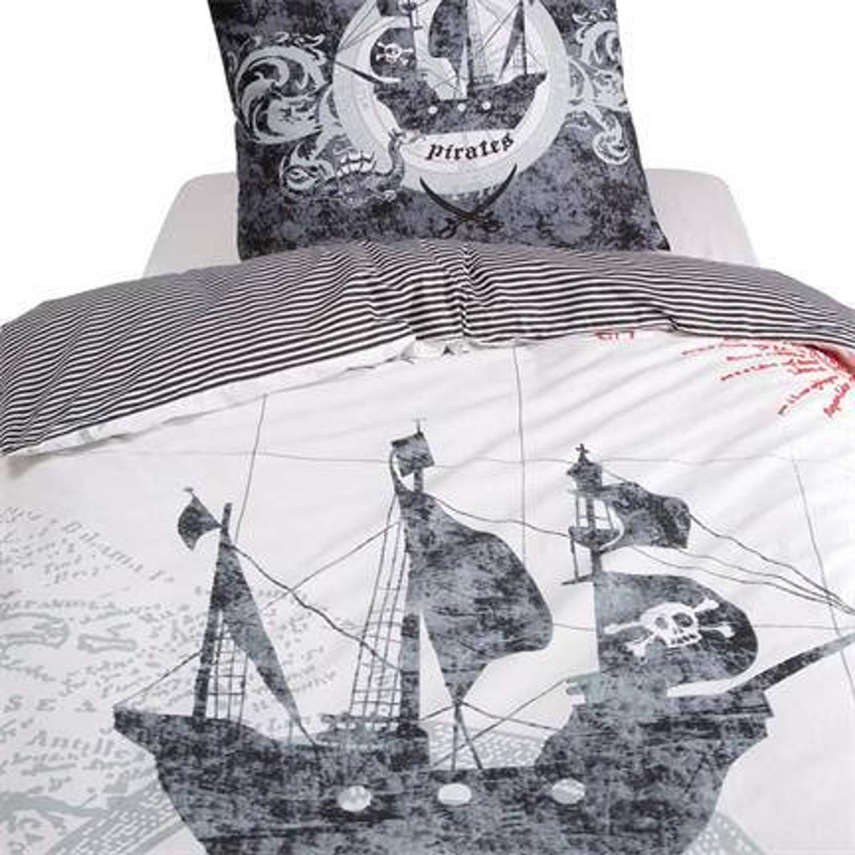 Damai Pirates dekbedovertrek - 100% percale katoen - Junior (120x150 cm + 1 sloop) - 1 stuk (60x70 cm) - Zwart