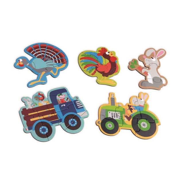 Scratch Beginnerspuzzel boerderij 5 puzzels 3 tot 8 stukjes