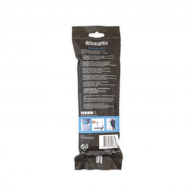 Brabantia PerfectFit afvalzak met trekbandsluiting code W, 5 liter, 20 stuks/rol - White