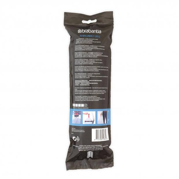 Brabantia PerfectFit afvalzak met trekbandsluiting code Y, 20 liter, 20 stuks/rol - White