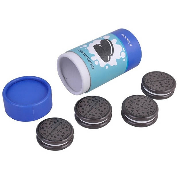 Mamamemo pak chocoladekoekjes hout 9,5 cm zwart/blauw 4 stuks