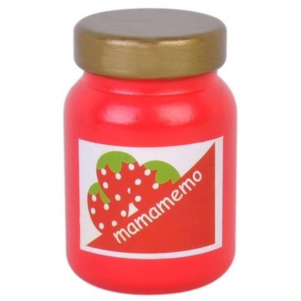 Mamamemo pot aardbeienjam hout 6 cm rood