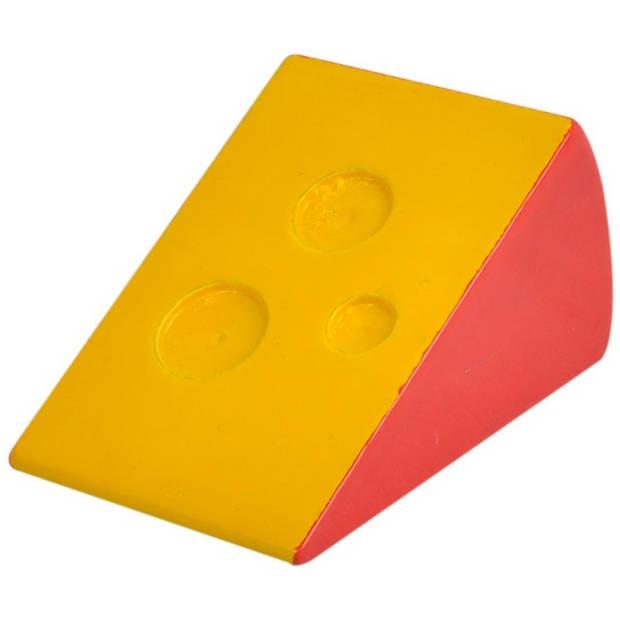 Mamamemo blok kaas hout 6,5 cm geel