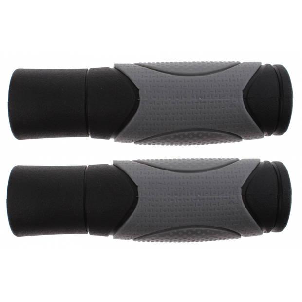 Cycle Tech handvatten 125 mm rubber zwart/grijs per set