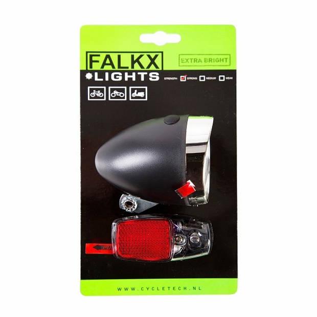 Falkx verlichtingsset led batterijen zwart