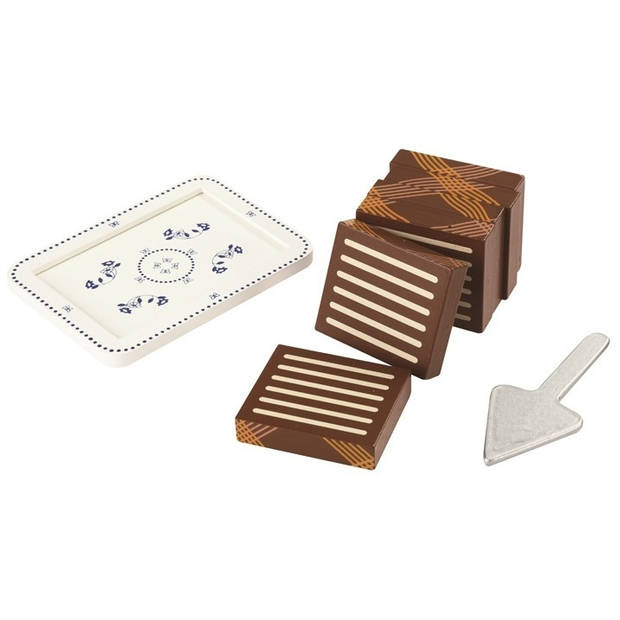 Mamamemo biscuit cake hout 14 cm bruin/wit