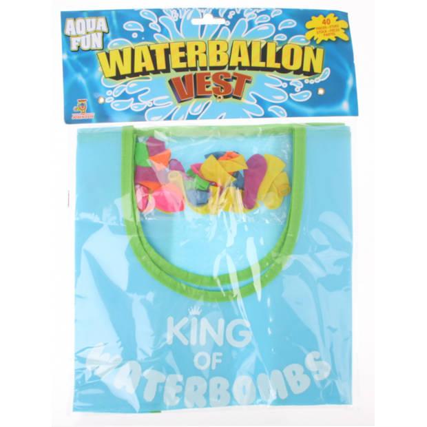 Johntoy aqua fun waterballonnenvest blauw met 40 ballonnen