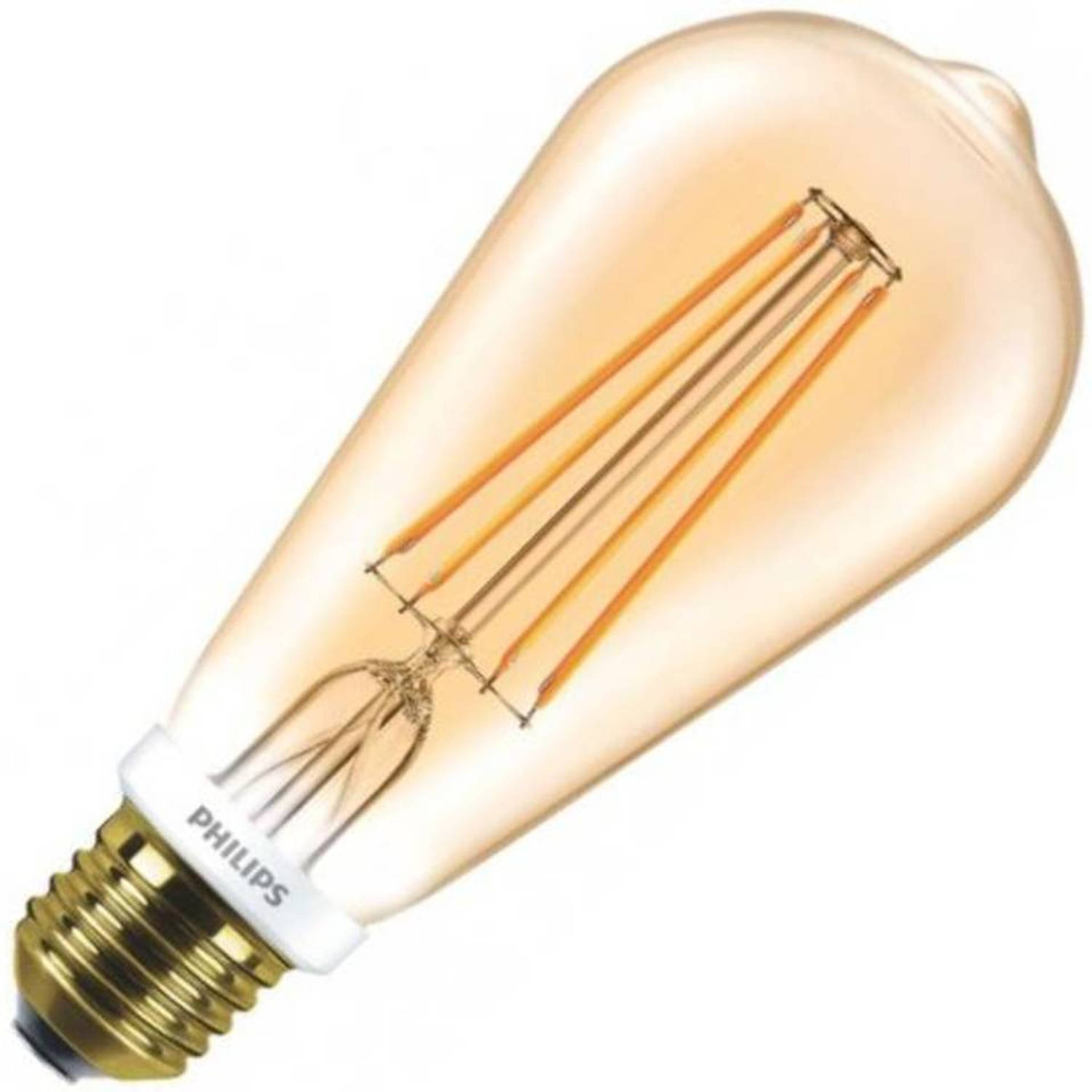Philips rustikalamp led filament goud 7w (vervangt 55w) grote fitting grote fitting e27