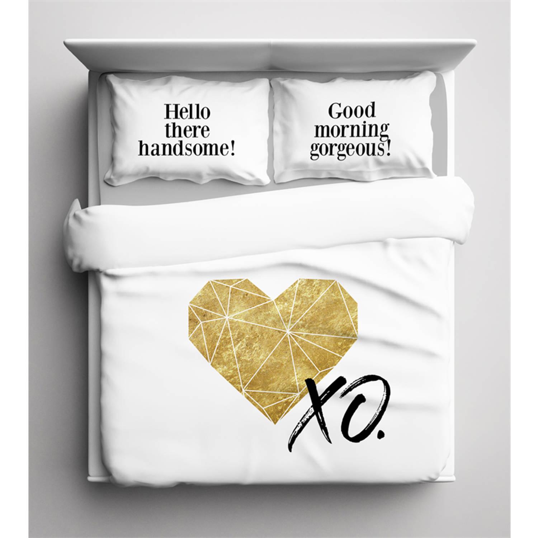 Nightlife dekbedovertrek gold heart-260x200/220