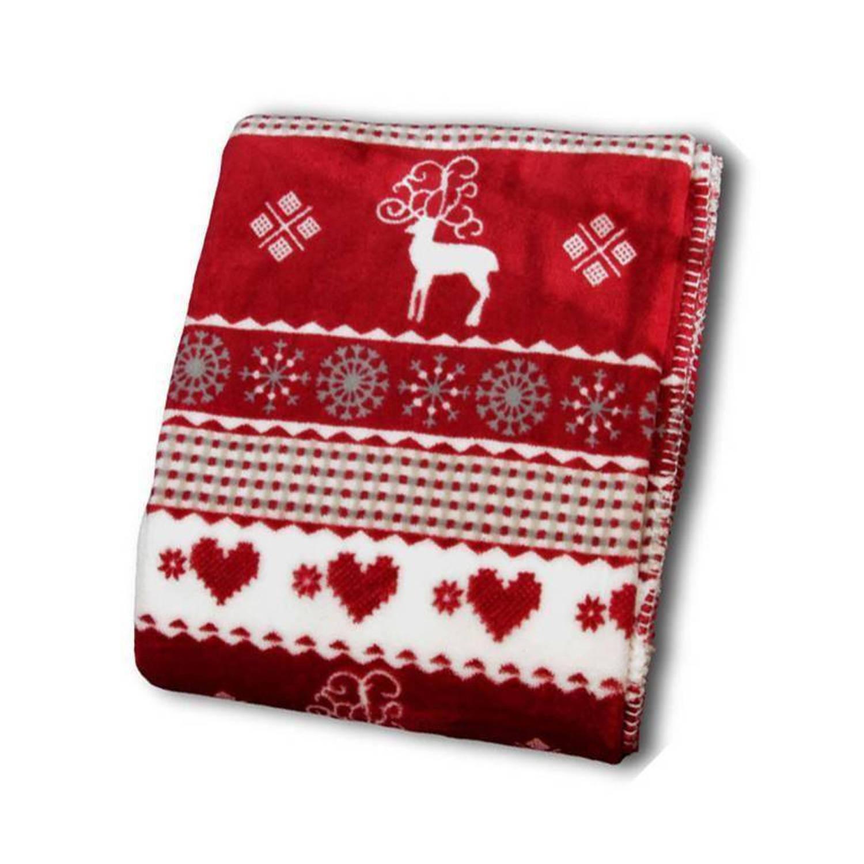 Unique Living Winter fleece plaid - 100% polyester, Fleece polyester - 130x160 cm - Rood