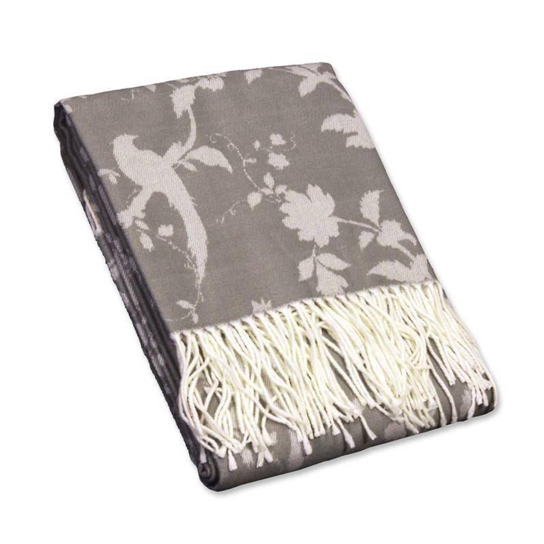 Unique Living Bohemain plaid - 100% polyester - 130x160 cm - Grijs