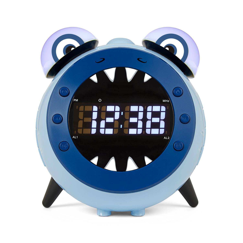 Nikkei nr280pshark Kinderwekker met radio en projectie - blauw