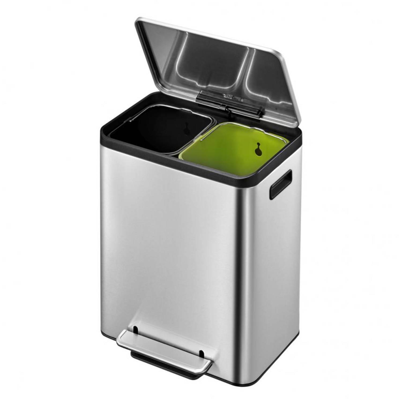 EKO Ecocasa Recycling Bin pedaalemmer - 15 + 15 liter - mat RVS
