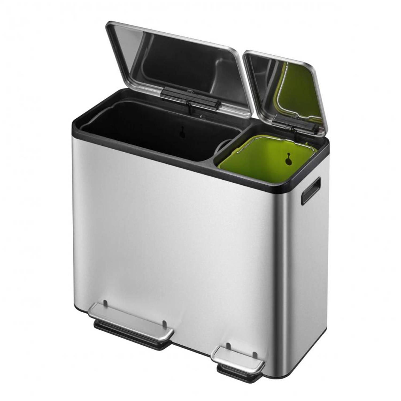 EKO Ecocasa recyBin pedaalemmer - 30 + 15 liter - mat RVS
