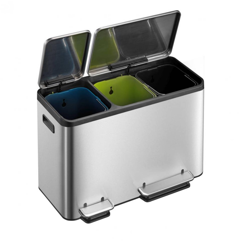 EKO Ecocasa Recycling Bin pedaalemmer - 15 + 15 + 15 liter - mat RVS