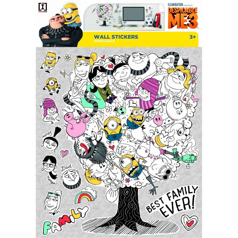 Despicable 3 Family Tree - Muursticker - Multi
