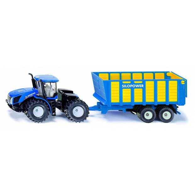 Siku new holland t9 tractor met silopower silagewagen blauw (1947)