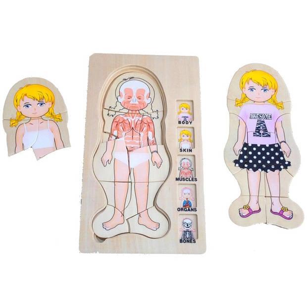 Mamamemo puzzel 5-laags hout meisje 29 x 14 cm
