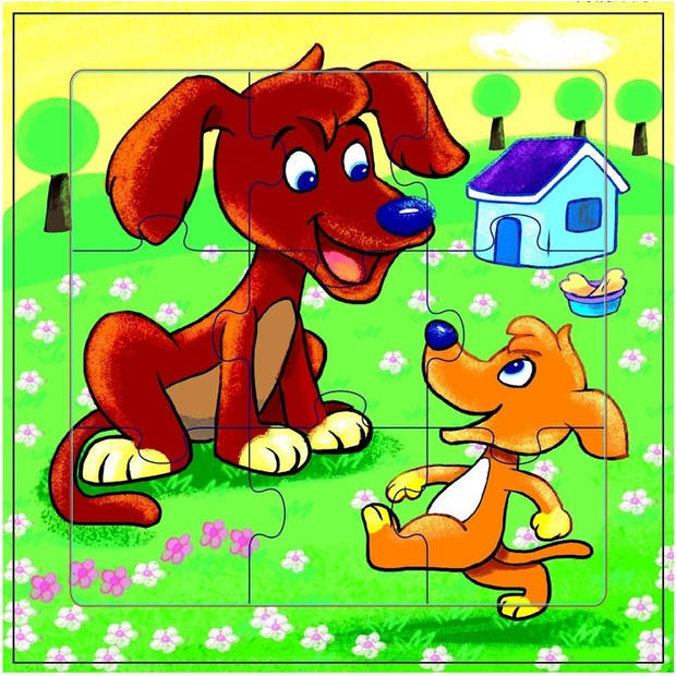 Mamamemo legpuzzel Honden junior hout 9 stukjes