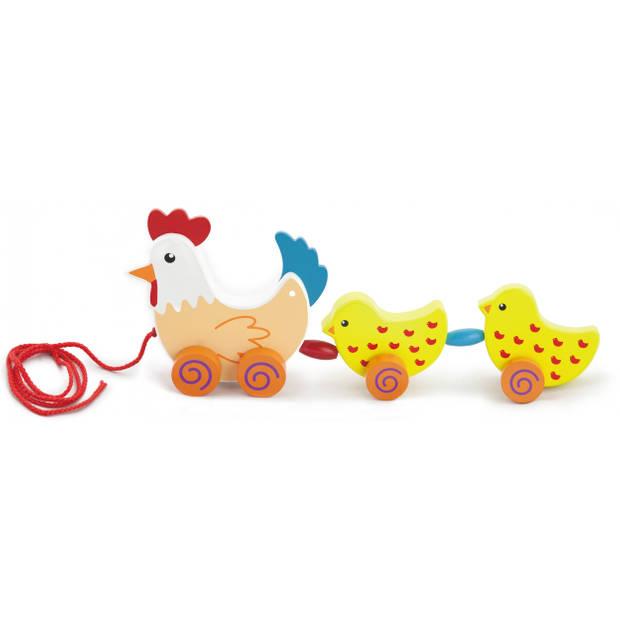 Viga Toys trekfiguur kip met kuikens 36 cm wit/geel