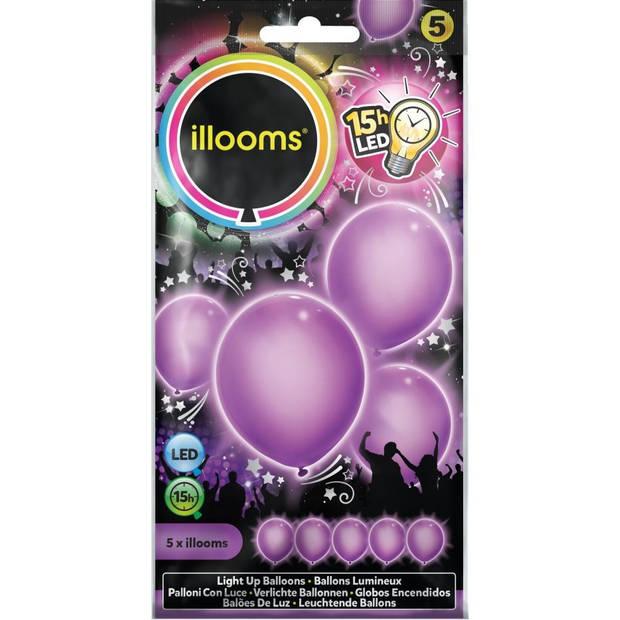 Illooms led-ballonnen Purple zakje van 5 stuks paars