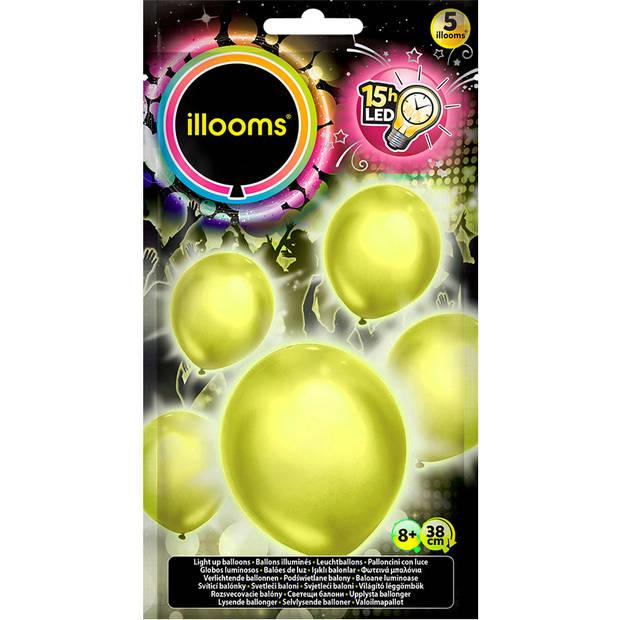 Illooms led-ballon latex geel 5 stuks