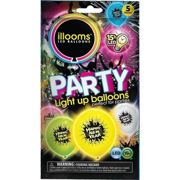Illooms led-ballonnen Happy New Year zakje van 5 stuks