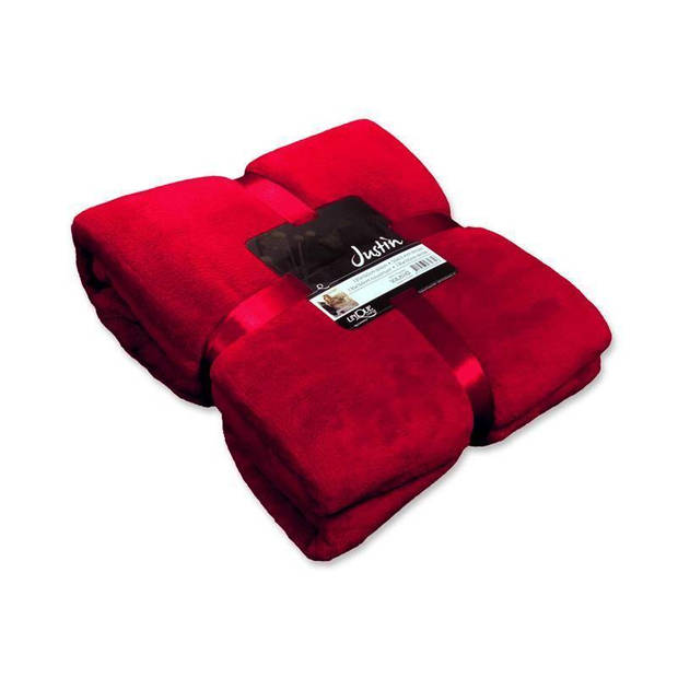 Unique Living Justin fleece plaid - Fleece polyester - 150x200 cm - Red
