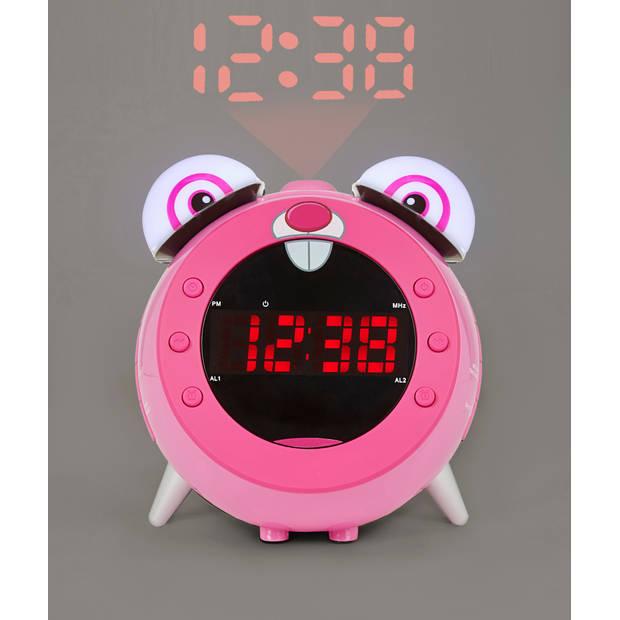 Nikkei nr280prabbit Kinderwekker met radio en projectie - roze