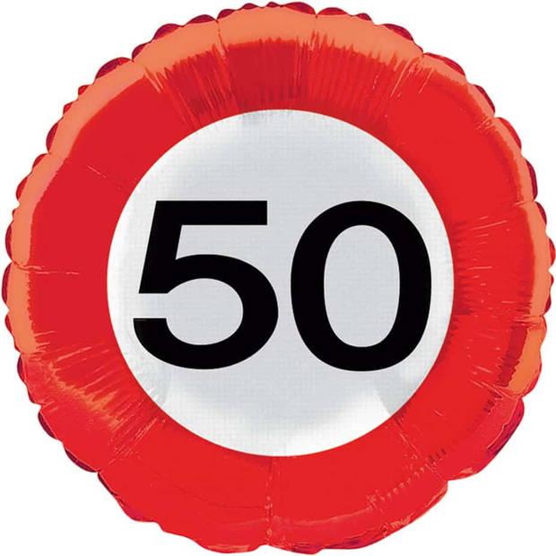 Folieballon 50 verkeersbord