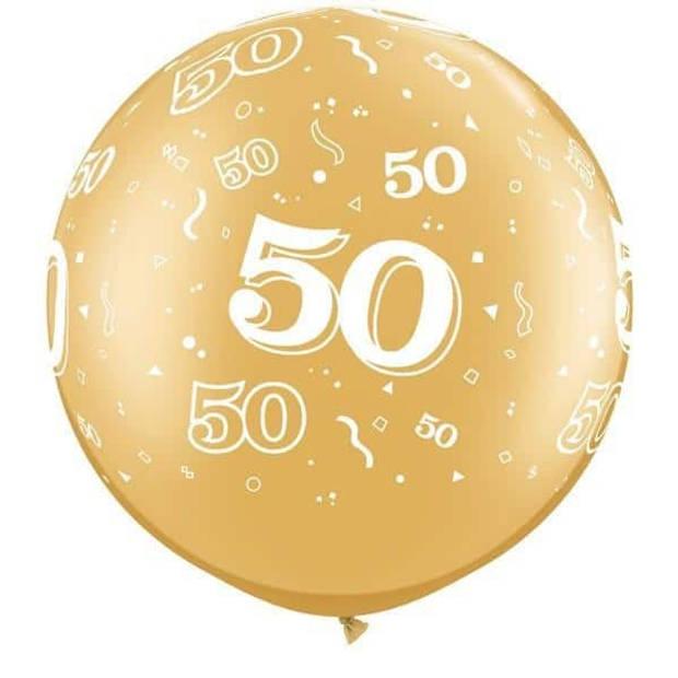 Megaballon bedrukt cijfer 50 goud