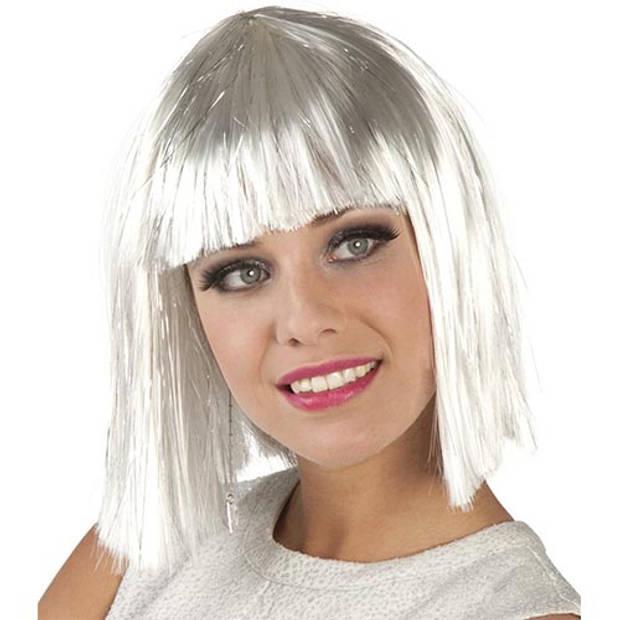 Pruik gigi glamour wit (zilver tinsel)