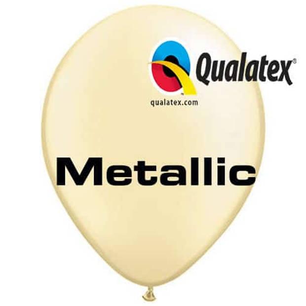 Ballonnen metallic ivoor 30 cm 100 stuks
