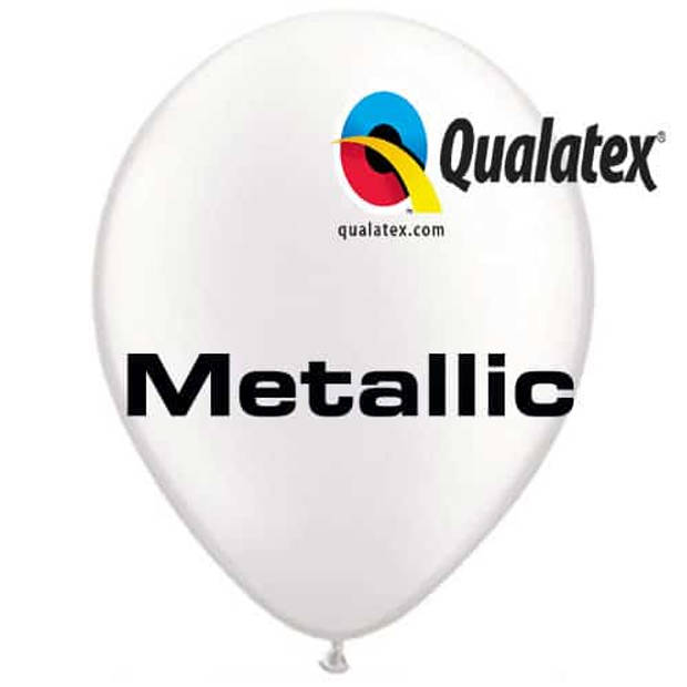 Ballonnen metallic wit 30 cm 100 stuks