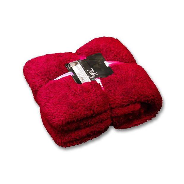 Unique Living Teddy fleece plaid - Fleece polyester - 150x200 cm - Red